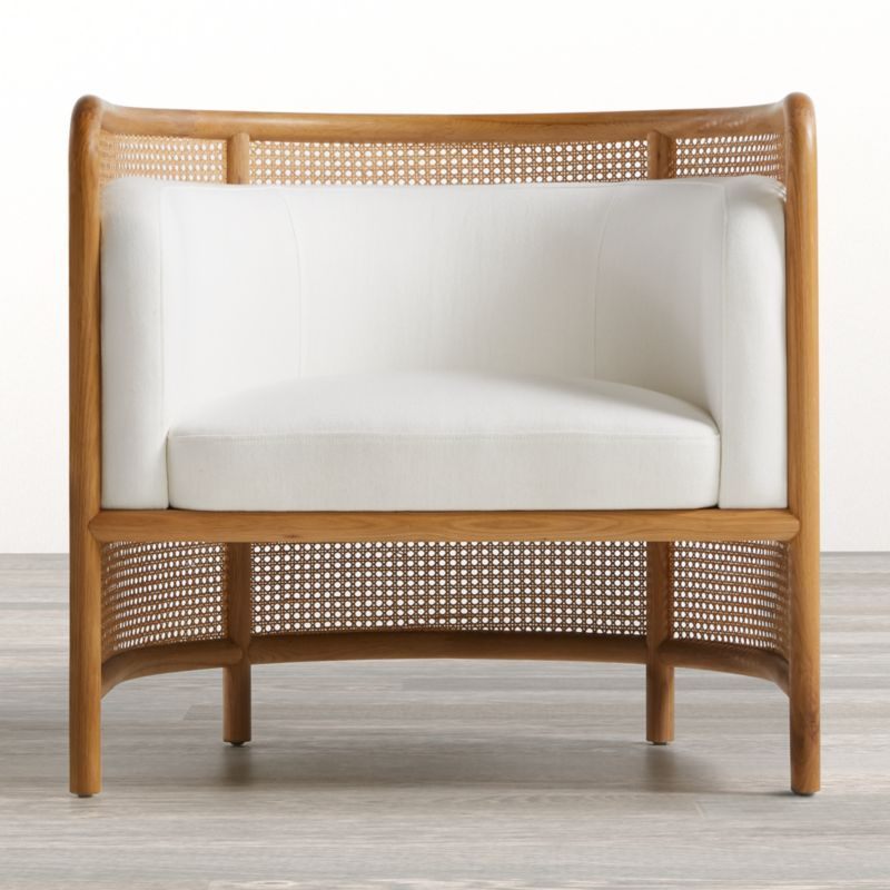 Shop Fields Cane Back White Accent Chair. Classic bentwood and retro caning shape the breezy curves of Fields, a contemporary take on the traditional barrel chair. Solid oak flows the seamless design, integrating back, armrest and leg into one fluid silhouette.