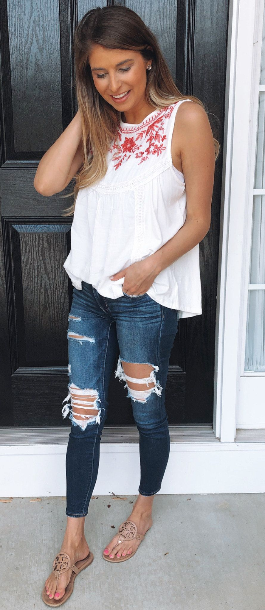 white and red floral sleeveless top #summer #outfits