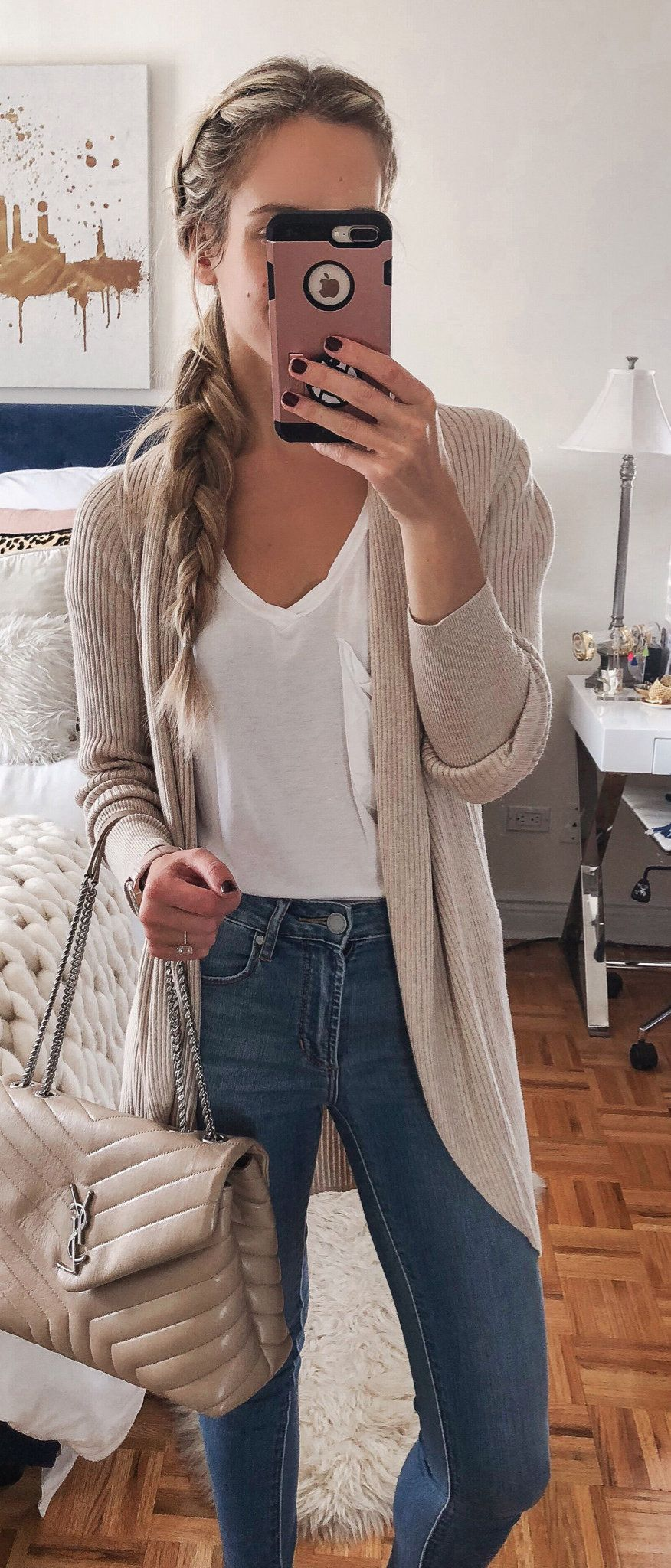gray long-sleeved cardigan and white V-neck shirt