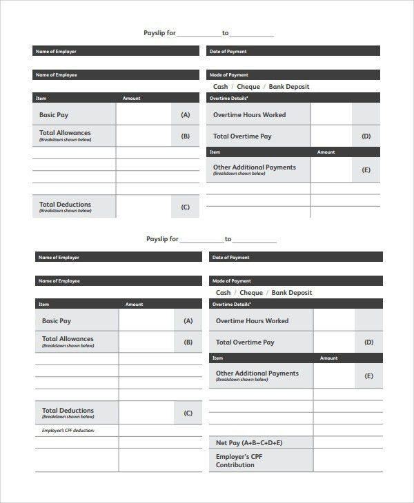 Basic Payslip Template Excel Top 5 Free Payslip Templates Word - payslip template in excel
