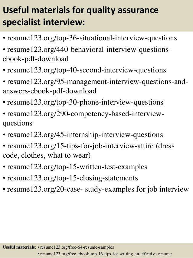 qa specialist resume - Gurekubkireklamowe