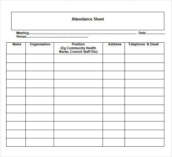 Sample Attendance Sheet Template simply nice classroom attendance - attendance chart template