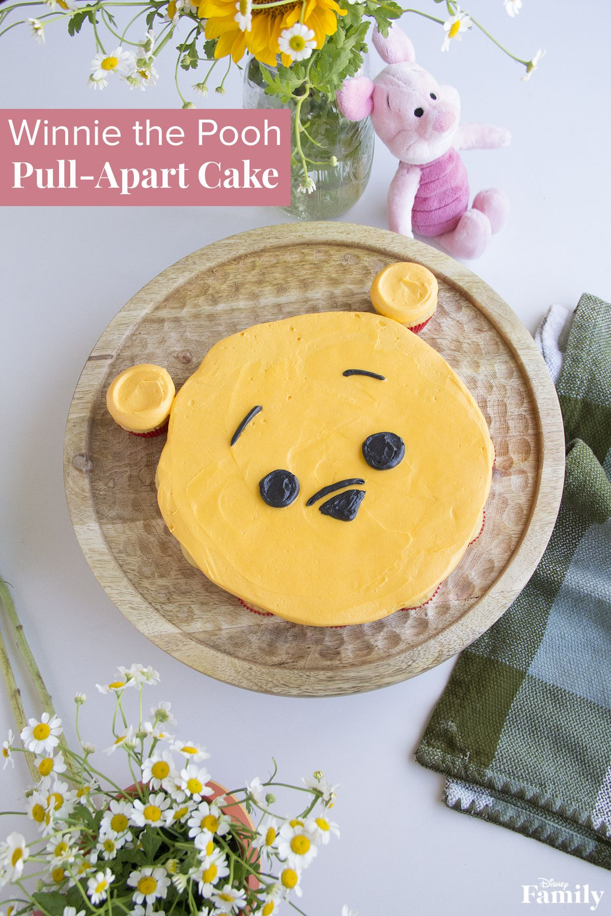 This Winnie the Pooh Pull-Apart Cake is straight from the Hundred Acre Wood, and will delight your family and friends. It's made by frosting miniature cupcakes together to create an adorable, little Pooh Tsum Tsum cake. Have more guests visiting? There's enough to go around. Add more cupcakes to make a larger cake so everyone can enjoy! Click for the Winnie the Pooh cake recipe.