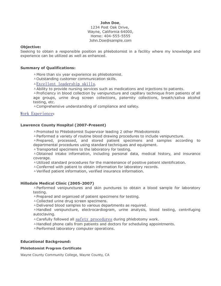 Phlebotomist Resume Objective] Phlebotomist Resume Sample