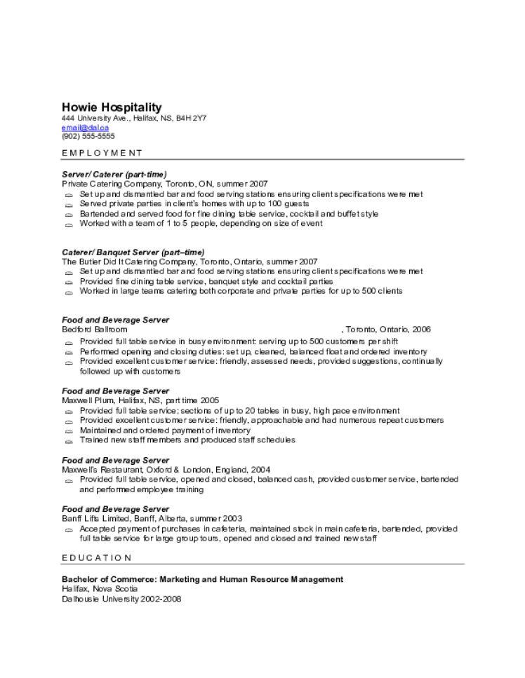 resume template server