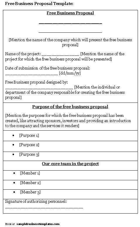 Free Sample Business Proposals Free Business Proposal Template - sample business proposals