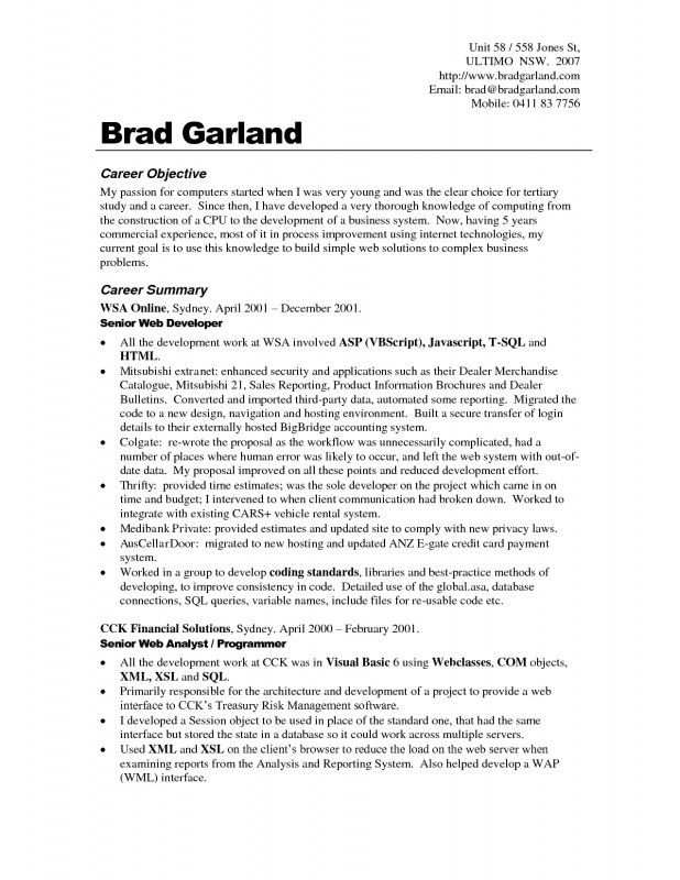 occupational goals examples resumes sample resume tofor example - Goals In Resume