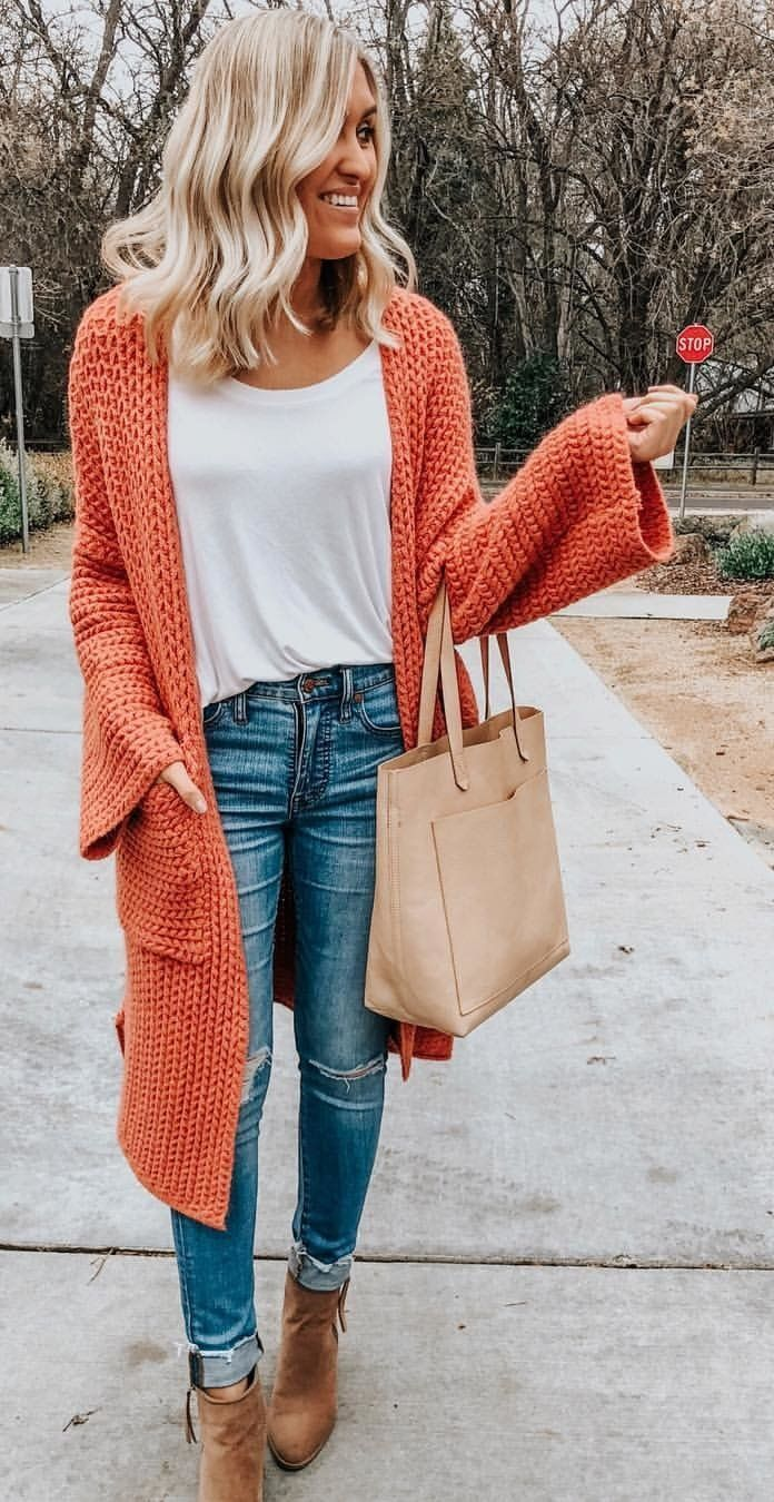 orange crochet cardigan