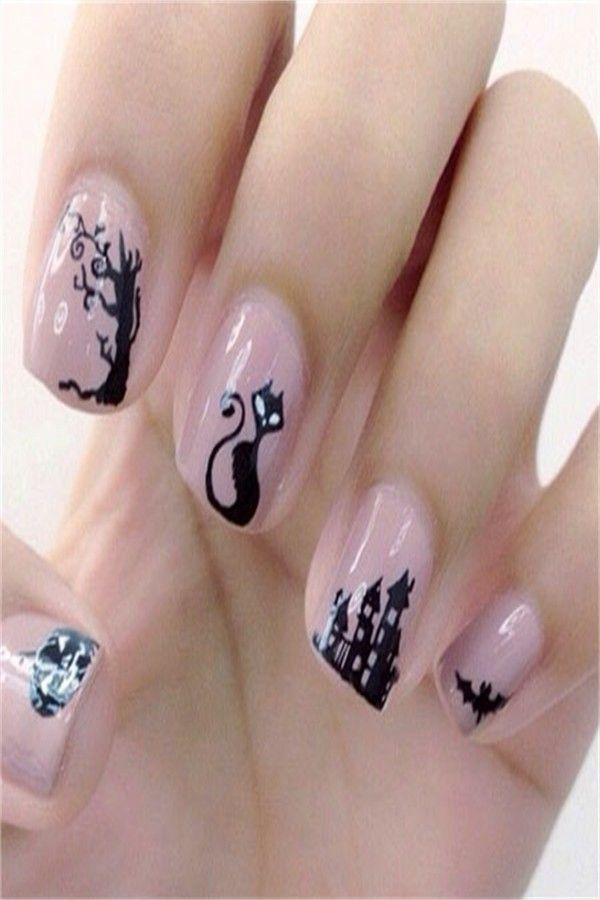 30+ Pretty And Modern Black Cat Nail Art Designs Ideas – Fashonails