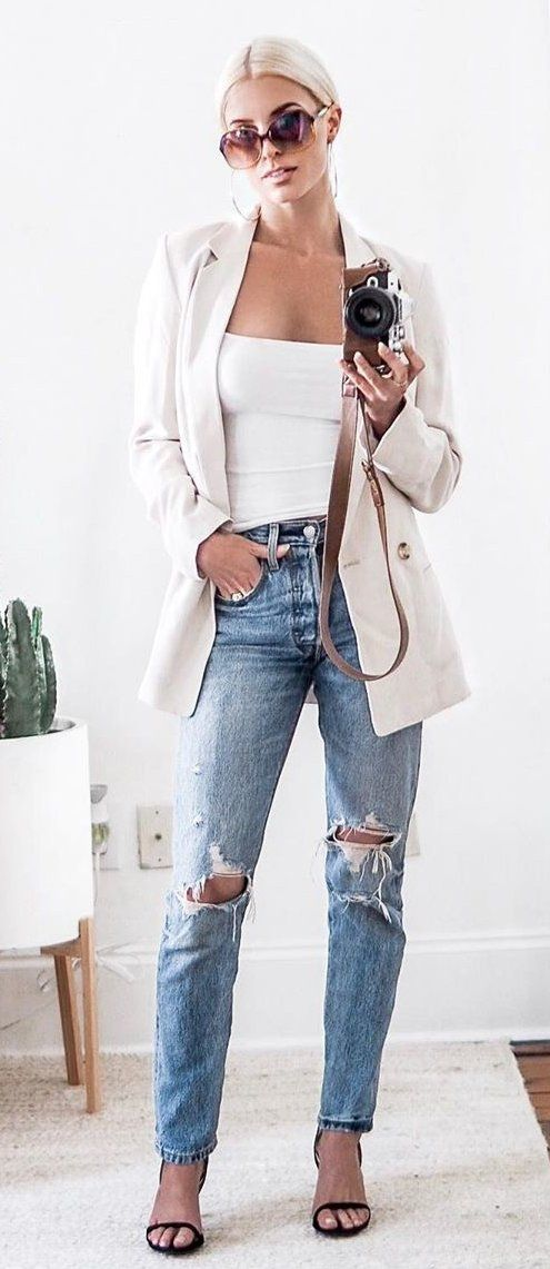 white off-shoulder top and blue distressed jeans #summer #outfits