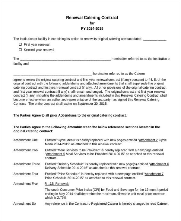 Sample Catering Contract Template Catering Contract Template 9 - contract amendment template
