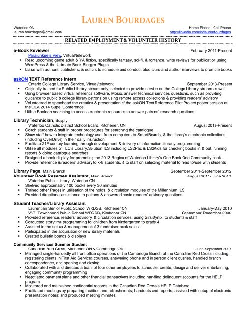 ... Library Technician Resume Library Technician Resume Sales   Library Volunteer  Cover Letter ...
