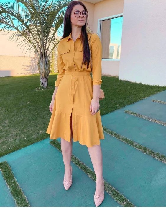 Amazing yellow summer dress design