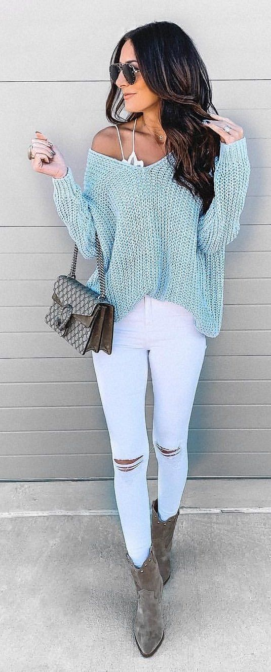 blue and white long sleeve dress #winter #outfits