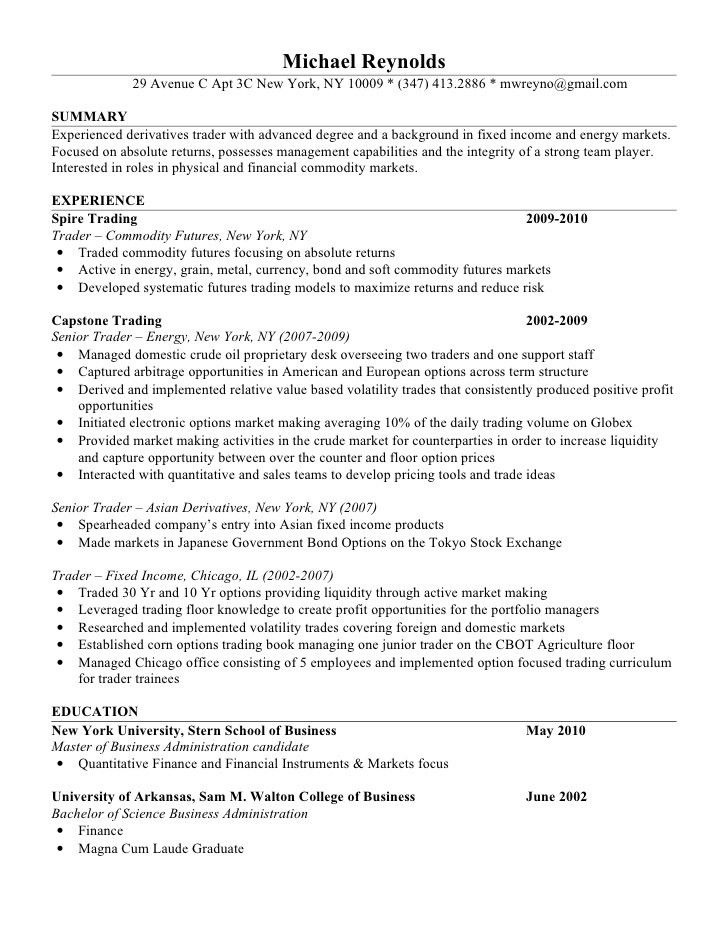 Attractive ... Junior Trader Resume Junior Trader Resume Trader Resume Example   Prop Trader  Cover Letter ...