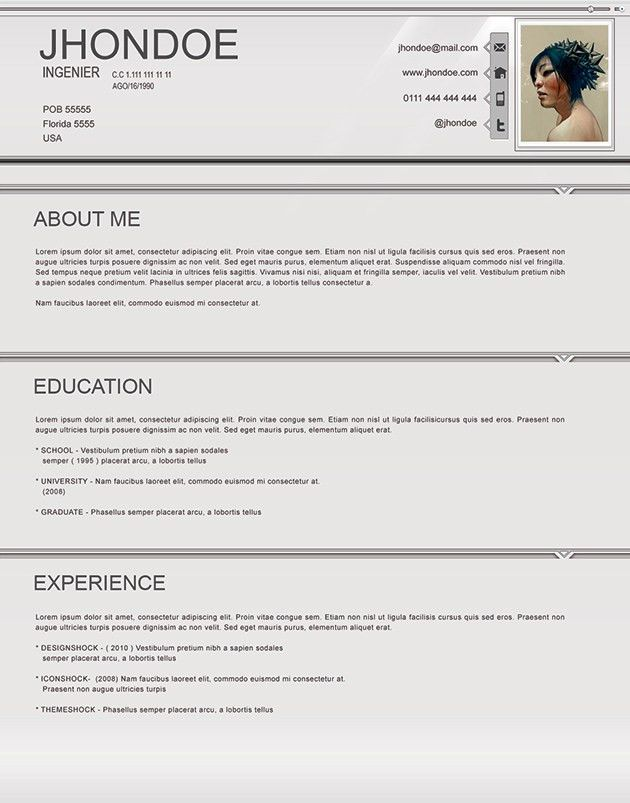 Resume Template For 15 Year Old Resume Template For 15 Year Old One Page Resumes When To Use 18 10 Free Professional Html Css Cvresume Templates Cv Resume Resume Template For 15