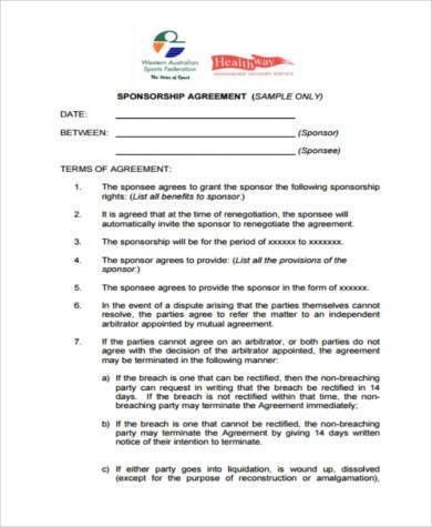 Sponsorship Form Sample Sponsorship Templateevent Sponsorship - sponsorship contract template