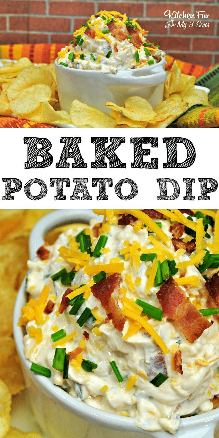 Loaded Baked Potato Dip perfect for get-togethers and football parties. #food #recipes #dip