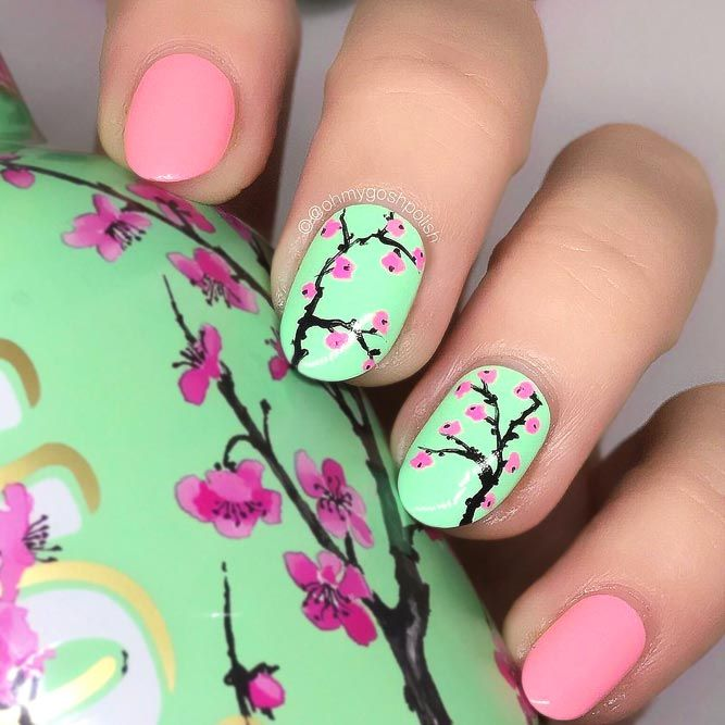 Cherry Bloom As A Perfect Accent #brightnails #floralnails★  Seeking new and inspiring spring nails designs that will enhance your manicure and also boost your mood? We have rounded up the most popular nail art ideas ideal for springtime from manicure maestros and Instagram celebs. Check out our photo gallery to catch nail art ideas for your next mani. #glaminati #lifestyle #springnails