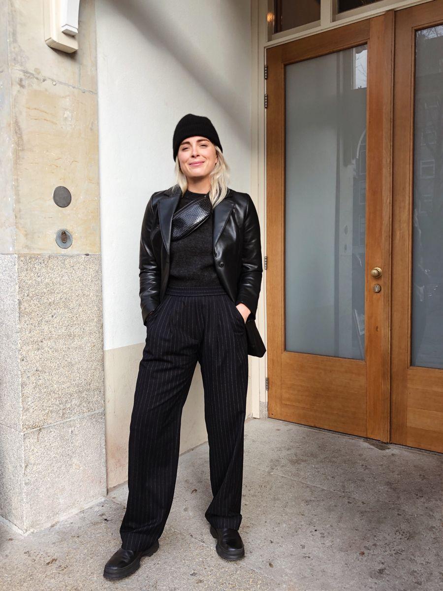 Leather blazer @lizachloe