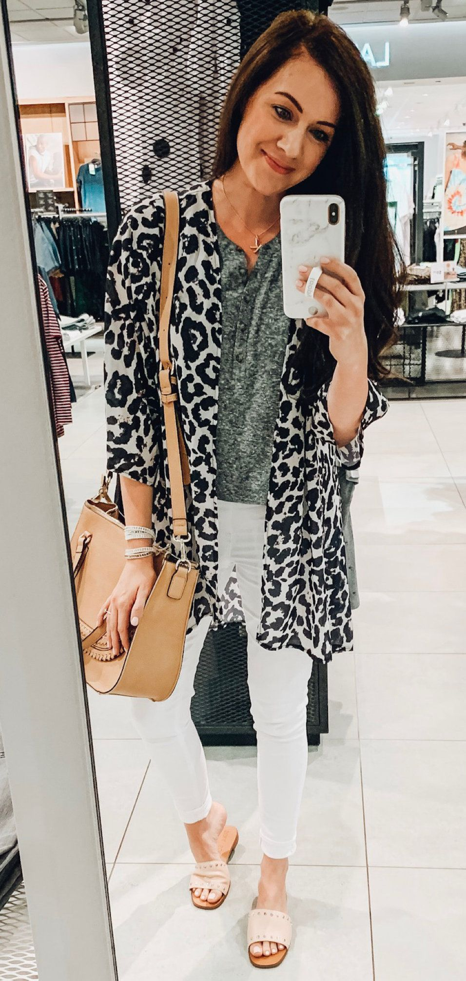 gray and black leopard print cardigan #summer #outfits