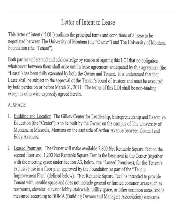 Letter Of Intent To Lease Sample 10 Real Estate Letter Of Intent - letter of intent for university