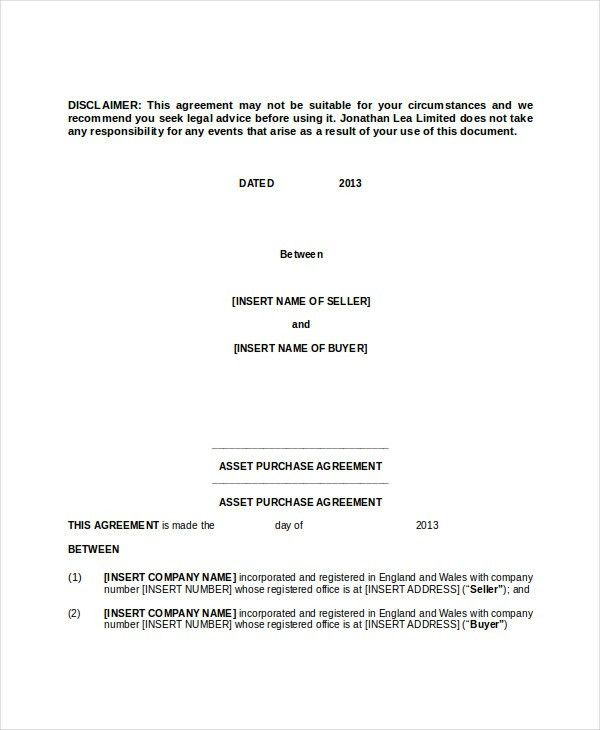 Beautiful Simple Purchase Contract Contemporary - Resume Samples - asset purchase agreement