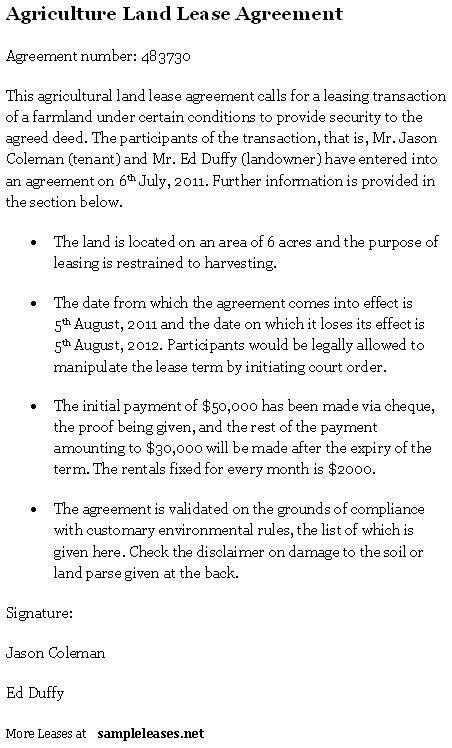 Land Lease Agreement Form Free Sample Land Lease Agreement 10 - property lease agreement template