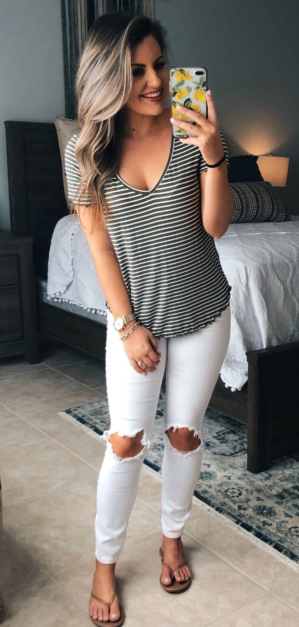 blcak and white striped blouse #spring #outfits