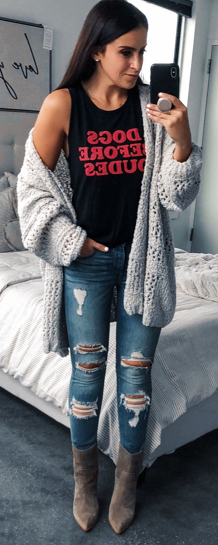 black and red tank top and gray knit open cardigan