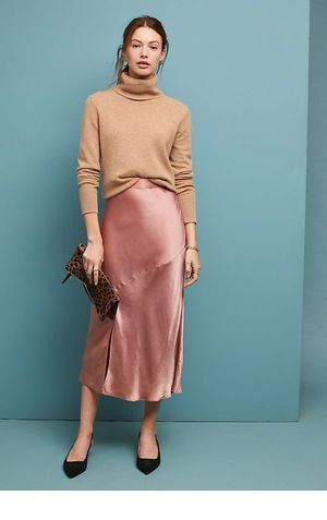 Cute beige blouse with pink skirt
