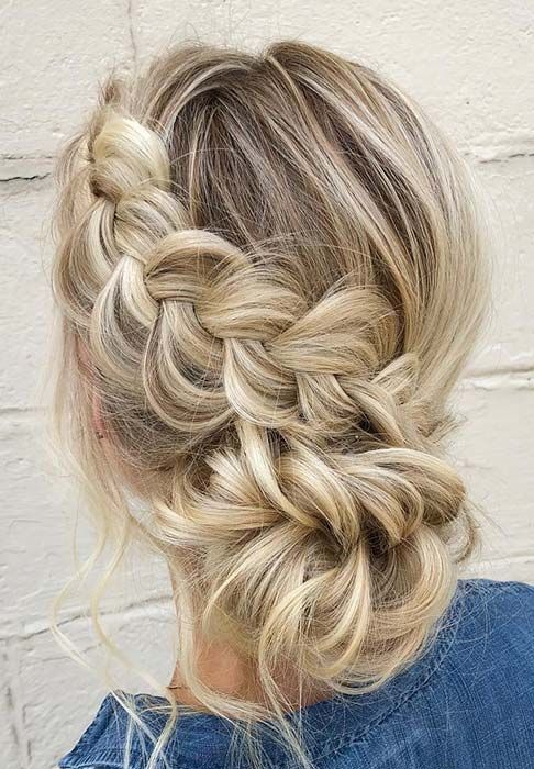 Elegant Braided Updo for Prom