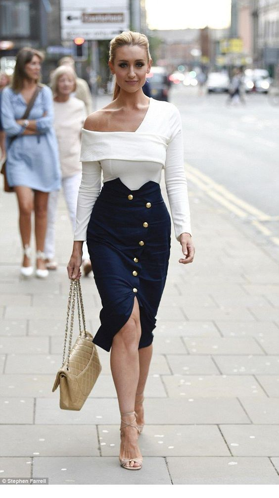 Cute white blouse and navy skirt