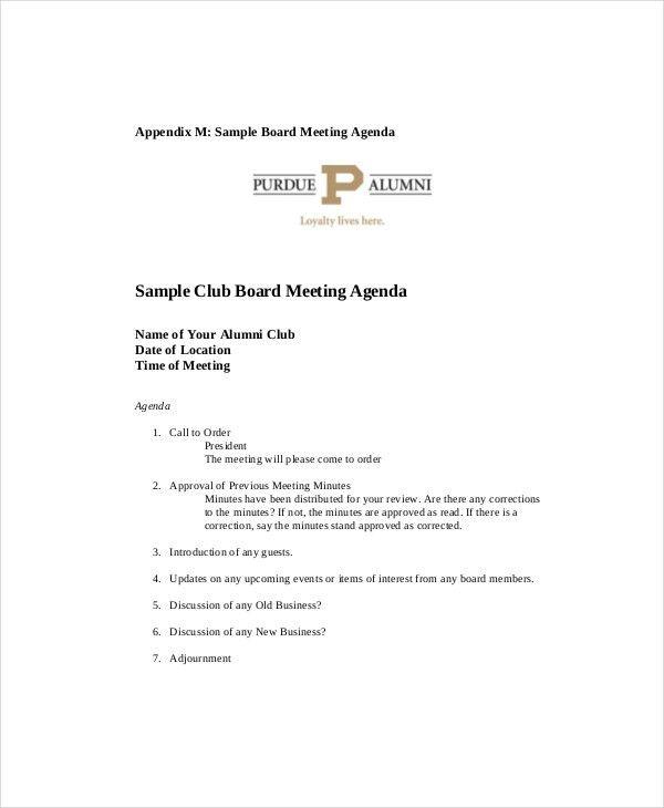 Sample Of A Meeting Agenda Free Meeting Agenda Template Sample - sample board meeting agenda