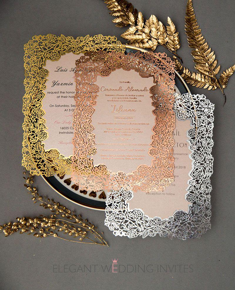 rose gold foil printed laser cut wedding invitation cards