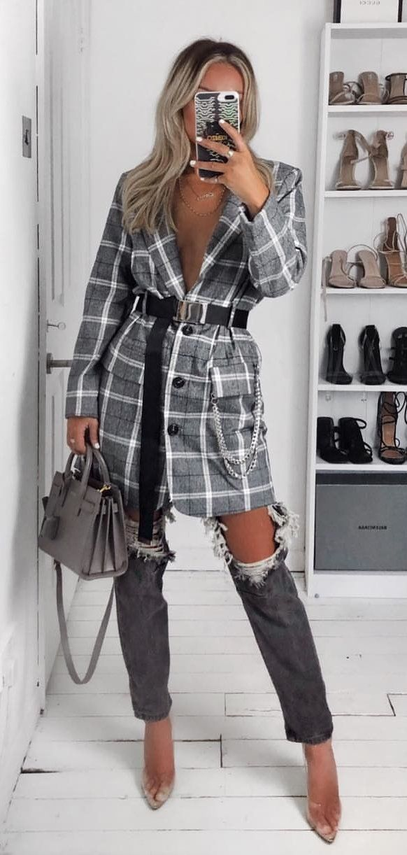 white and black plaid dress shirt #spring #outfits