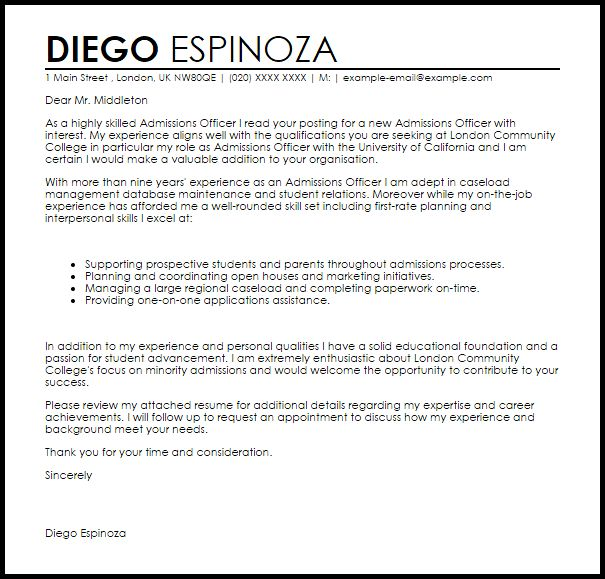 Admissions Officer Sample Resume oakandale