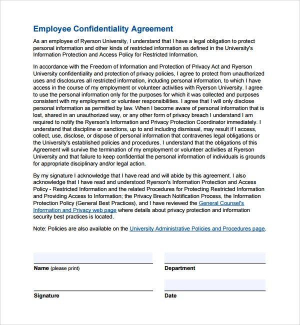 Printable Confidentiality Agreement Confidentiality Agreement - sample employee confidentiality agreement