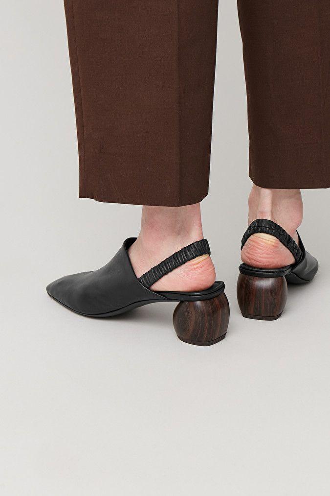 SLING-BACK LEATHER SHOES - Black - Shoes - COS DE