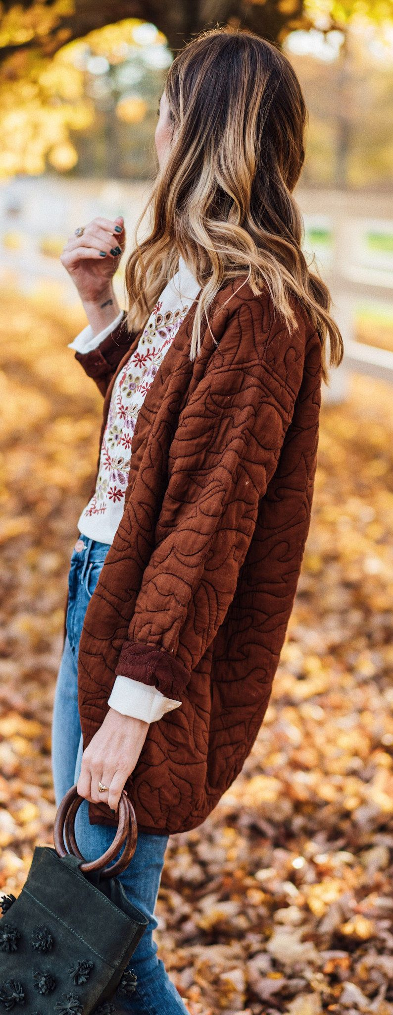 brown open-front cardigan
