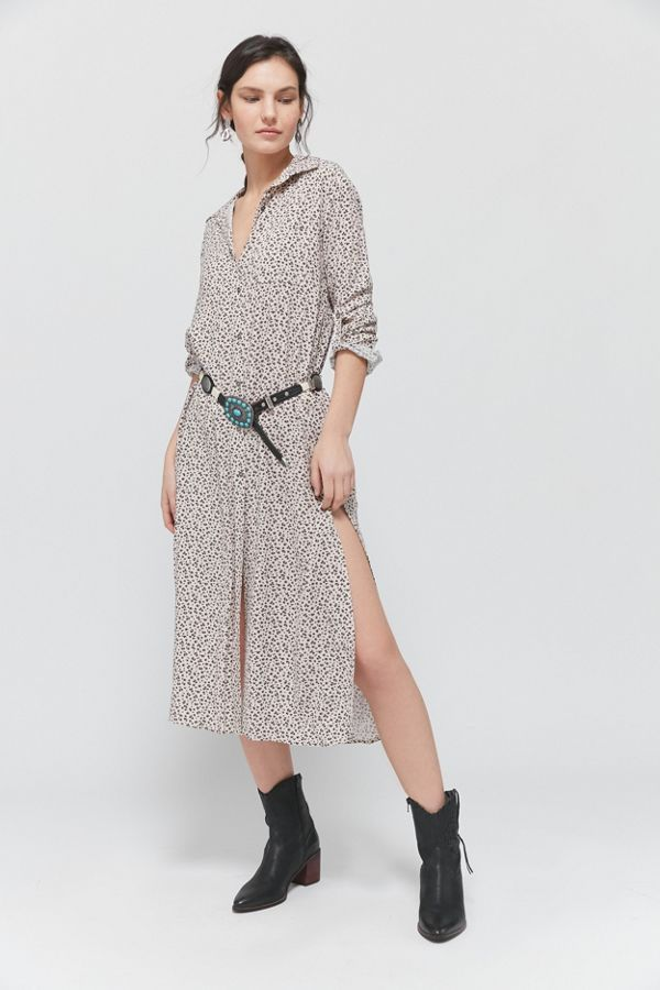 Dress Forum Animal Print Midi Shirt Dress