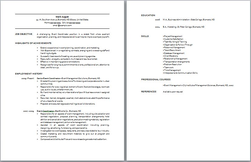 Event Manager Resume event planner resume template 11 free - event planner resume template