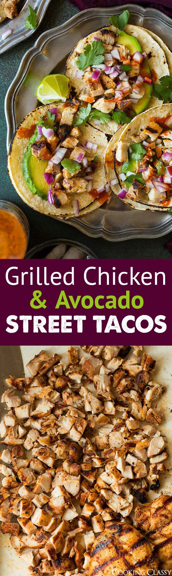 Chicken Street Tacos - I make these for guests all the time and they always get compliments! Chicken thighs are soaked in a bright well seasoned marinade and grilled to perfection (you'll be fighting over those little charred crispy pieces).  They're so flavorful and so easy to make. #chicken #recipe #streettacos #tacos #mexicanfood #avocado #mexican #easy #healthy #poultry