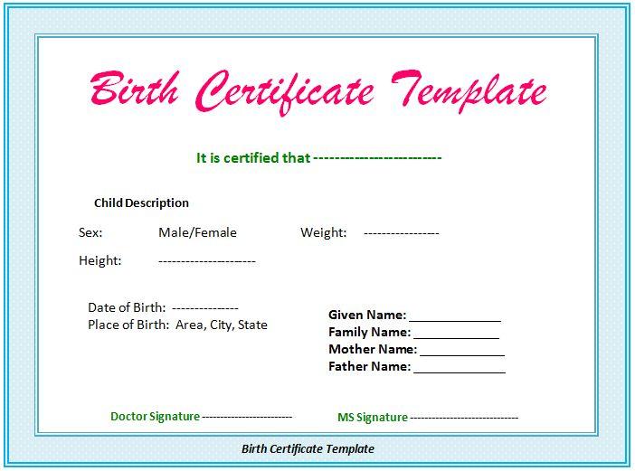Certificate Of Birth Template 15 Birth Certificate Templates Word - sample birth certificate template