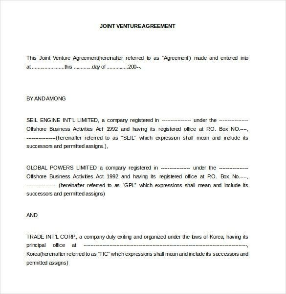 Joint Venture Agreements Sample Joint Venture Agreement Template - real estate partnership agreement