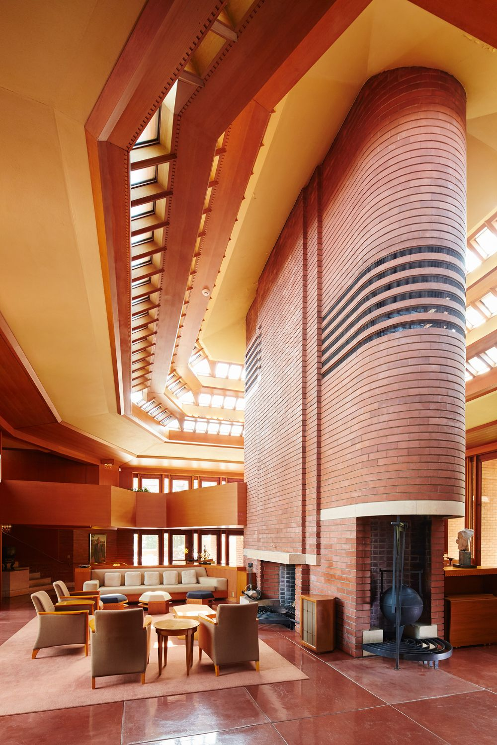 Wingspread, built in Wisconsin for the CEO of Johnson & Johnson.  Did you know that Frank Lloyd Wright pioneered the idea of an open concept floor plan?