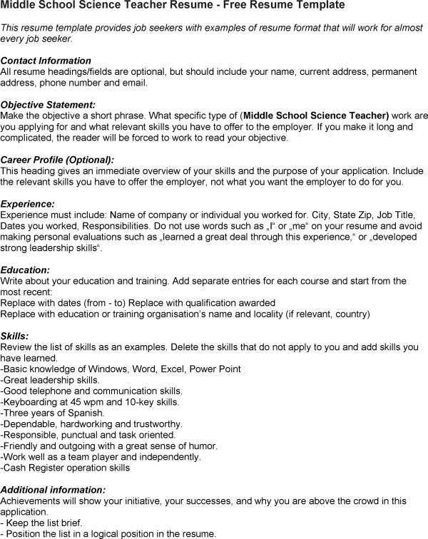 Middle School Teacher Resume Examples 10 Best Middle School - science teacher resume