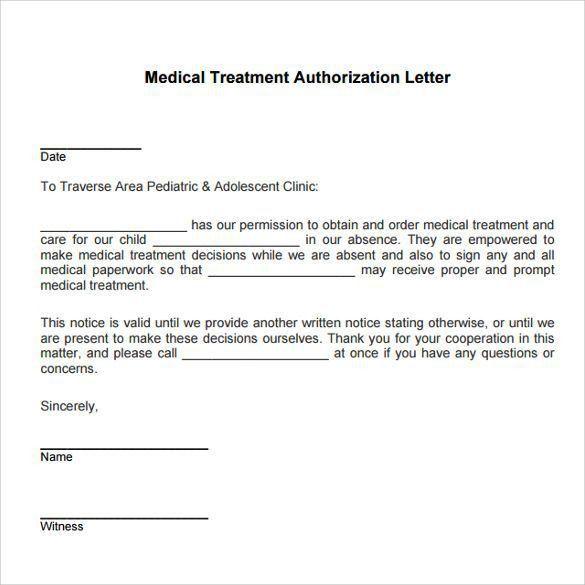 Permission Letter For Medical Treatment Sample Medical Treatment - permission letter