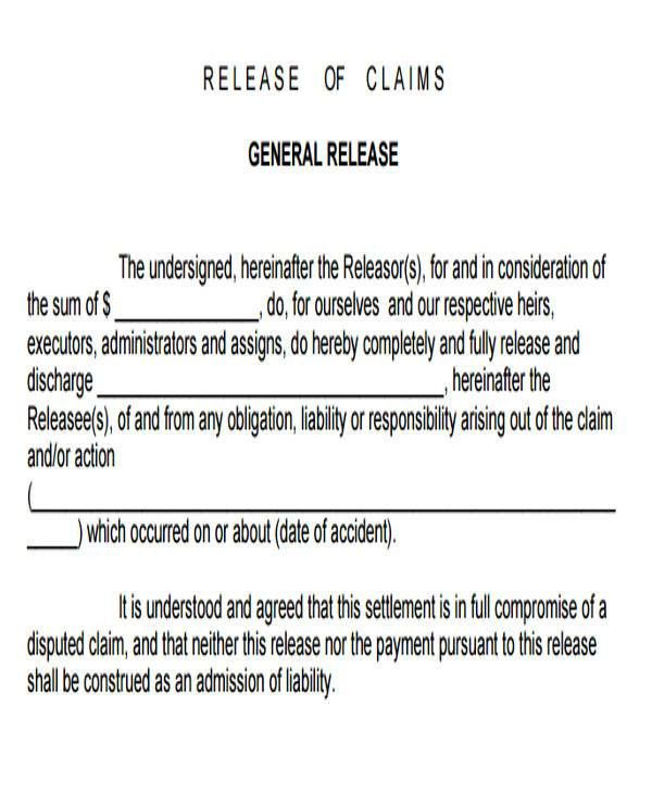 ... General Release Of Liability Form General Liability Release Of   Basic  Liability Waiver Form ...  General Release Of Liability