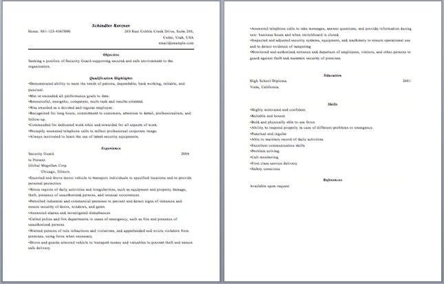 resume for security sample resume of security guard security